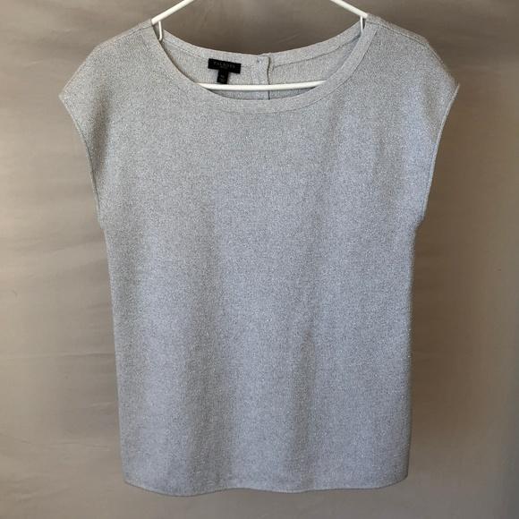 Talbots Tops - Talbots Silver Cap-Sleeve Shirt